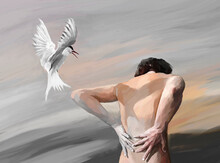 Painted Illustration Of Shirtless Man And Flying Bird