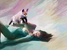 Painted Illustration Of Naked Woman And Fox