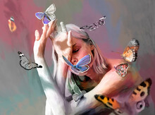 Painted Illustration Of Graceful Woman And Butterflies
