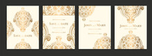 Invitation Card With Luxury Golden Pattern Design On A Black Background. Vintage Ornament Template. Can Be Used For Flyer, Wallpaper, Packaging Or Any Desired Idea. Elegant Vector Elements.