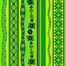 Seamless Pattern With Alternating Ornamental Straight And Winding Vertical Lines. Spring Greenish Color.