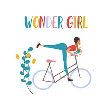 Wonder Girl Lettering. Summer Postcard Of A Girl Riding A Bike. Feminism, Sport And Self-love Concept