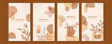 Stories Templates For Social Media. Vector Abstract Shapes Vertical Backgrounds. Minimal Floral Backdrops. Banner Background Of Creative Minimalist Hand Draw Illustrations Floral Outline Lily Pastel
