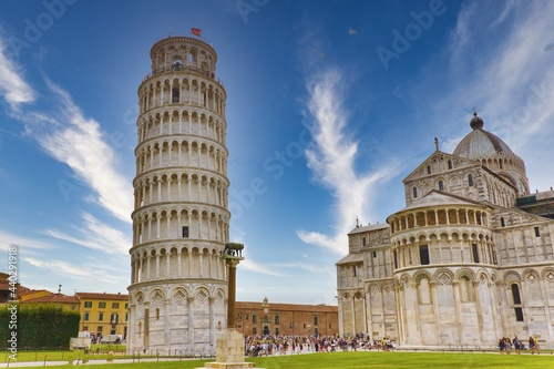 View of the Tower and the Duomo from Piazza dei Miracoli Pisa Tuscany Italy Fototapeta