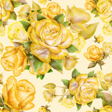 Seamless Pattern With Yellow Roses And Leaves On Background.