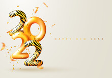 2022 Happy New Year. 3d Render Gold Metallic Sign With Tiger Pattern And Flying Serpentine. Festive New Year Greeting Card 2022. Christmas Poster, Banner, Cover Card, Brochure, Flyer, Layout Design
