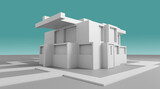 Modern house abstract rendering
