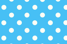 Seamless Pattern With Circles. Blue Background With Polka Dots, Blue Background In A White Circle