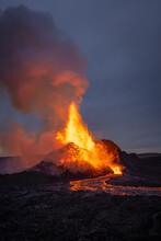 Volcano Bursting With Hot Lava