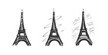 Eiffel Tower Symbol. Paris, France Emblem. Vector Illustration