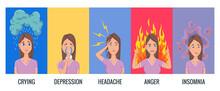 Women Stress Symptoms. Emotional Or Mental Health Problems, Stress - Hysterics Insomnia Headache Depression, Anger