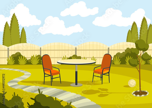 Patio area with cartoon table and chairs Fototapeta