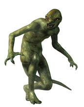 The Lizard Man, A Half Human, Half Reptilian Monster.  Here Is A Creature Of Fantasy, Folklore, Legend, And Myth.  3D Rendering