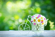 Summer Bouquet Of Wildflowers In White Decorative Bicycle, Copy Space. Flower Blooming Art Composition