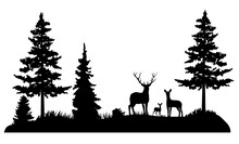 Vector Forest Deer Family