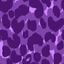 Abstract Modern Leopard Seamless Pattern. Animals Trendy Background. Purple Decorative Vector Stock Illustration For Print, Card, Postcard, Fabric, Textile. Modern Ornament Of Stylized Skin