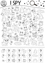 Forest I Spy Black And White Game For Kids. Searching And Counting Outline Activity Or Coloring Page With Woodland Animals And Nature Elements. Funny Printable Worksheet For Kids With Birds, Insects