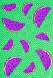 Leinwandbild Motiv Pieces of watermelon made from paper on light background