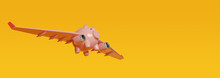 Piggy Bank With Airplane Wings Flying On Yellow Background With Copy Space. 3d Illustration.