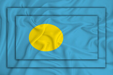 Palau Flag On Background Texture. Three Flags Are Superimposed On Each Other. The Concept Of Design Solutions. 3D-rendering