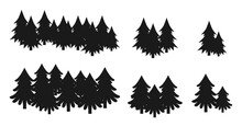 Tree Silhouette Christmas Conifers, Part Of The Forest, Black Color. Bundle Of Trees. Pine Silhouettes. Collected In A Pile On A Few Pieces, One, Two, Three. Holiday Design Elements. For Bed Linen.
