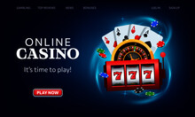 Playing Cards, Roulette Wheel And Winning Slot Machine Fly Casino. Online Casino Vector Illustration. Website Homepage Interface UI Template. Landing Web Page With Concept Hero Header Image.
