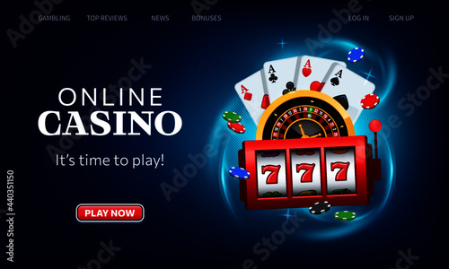 Fotografia Playing cards, roulette wheel and winning slot machine fly casino