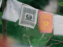 Prayer Flags With Mantra Outdoor. Tibetan Lungta Flags. Tibetan Buddhism Prayer Flags Lung-ta