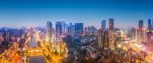 Aerial Photography Sichuan Chengdu City Architecture Landscape Skyline Night View