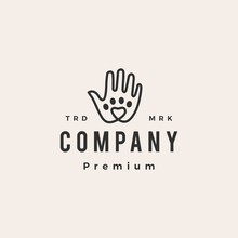 Hand Love Pet Paw Care Hipster Vintage Logo Vector Icon Illustration