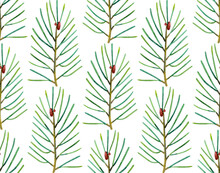 Seamless Pattern Of Colored Pine Twigs. Minimalistic Design. Scandinavian Endless Ornament. Hand-drawn Watercolor Illustration Of Branches On A White Background. For Wallpaper, Textile, Wrapping.