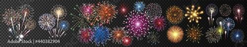 Fototapeta Festive patterned firework bursting in various shapes sparkling pictograms set on transparent background