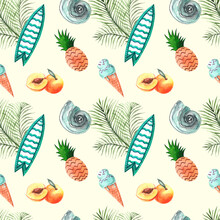 Seamless Watercolor Pattern. Summer Print. Beach Background With Surfboard, Pineapples, Seashells, Ice Cream, Peaches And Palm Branches. Summer Holiday Background.