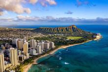 Waikiki Skyline With Queen Kapiolani Regional Park, Kuhio Beach, And Diamond Head In The Background