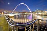 Millennium Bridge and the Tyne Bridge over the River Tyne in Newcastle upon Tyne