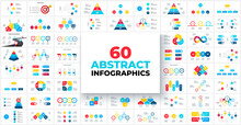 Big Bundle With 60 Infographics For Business Presentation. Circles, Pyramids, Flowcharts, Abstract Diagrams And Timelines