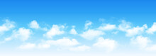 Sunny Day Background, Blue Sky With White Cumulus Clouds, Natural Summer Or Spring Background With Perfect Hot Day Weather Vector Illustration.