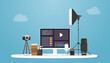 video production concept with camera and tools product with modern flat style