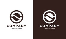 S Letter Initial Logo Coffee Bean Concept Simple  Shape. Monogram Symbol Business Branding.