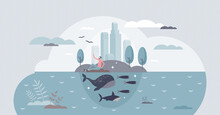 Clean Environment And Sustainable Climate Conservation Tiny Person Concept. Earth Protection Or Nature Preservation With Marine Life Respect In Urban City Vector Illustration. Water Ecology Care Scene