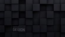 Black Cubes. Random Mosaic Background.