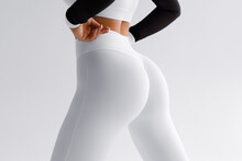 Fitness Model In Leggings With Beautiful Buttocks. Sporty Booty
