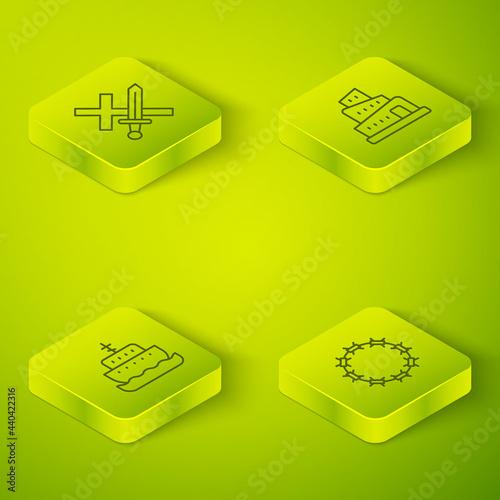 Fotografija Set Isometric line Babel tower bible story, Ark of noah, Crown thorns and Crusade icon