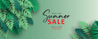 Elegant summer sale banner with tropical leaf theme