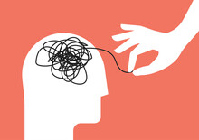 Psychologic Therapy Session Concept With Human Head Silhouette And Helping Hand Unravels The Tangle Of Messy Thoughts With Mental Disorder, Anxiety And Confusion Mind Or Stress. Vector Illustration