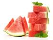 canvas print picture - Wassermelone - Melone in Stücke Freigestellt