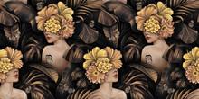 Tropical Exotic Golden Seamless Pattern. Beautiful Women, Hibiscus Flowers Bouquets, Plumeria, Monstera, Palm, Banana Leaves, Butterflies, Jungle. Hand-drawn Vintage 3D Illustration. Luxury Wallpaper