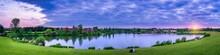 Furzton Lake Panorama At Sunset In Milton Keynes. England