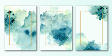 Abstract Green Frame Collection With Watercolor