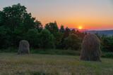 Siano, wieś, zachód słońca, Małopolska, Nowy Sącz